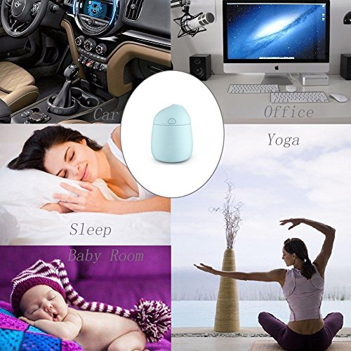 Novth Mini Humidifiers with Whisper-Quiet Operation, Automatic Shut-Off, 120ml Nano Mist Humidifier for Bedroom Baby room Home Office Car Study Yoga Spa,Easy to Clean (blue) by Novth (Image #3)