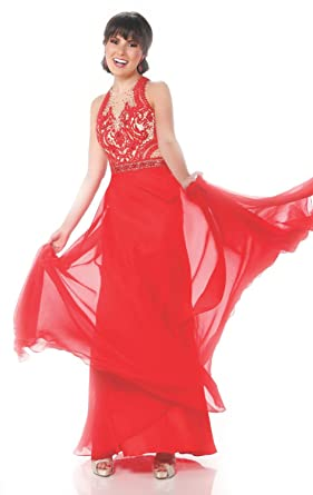 Top-Sexy Red Beaded Lace Chiffon Gown Backless Mermaid Prom Dress