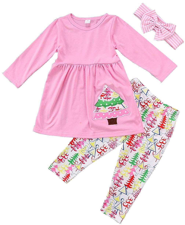SUPEYA Baby Girls Christmas Tree Print Long Sleeve Dress Tops+Pants+Stripe Headband
