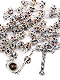 Colorful Zircon Crystals Beads Rosary Catholic Necklace Holy Soil Medal & Cross