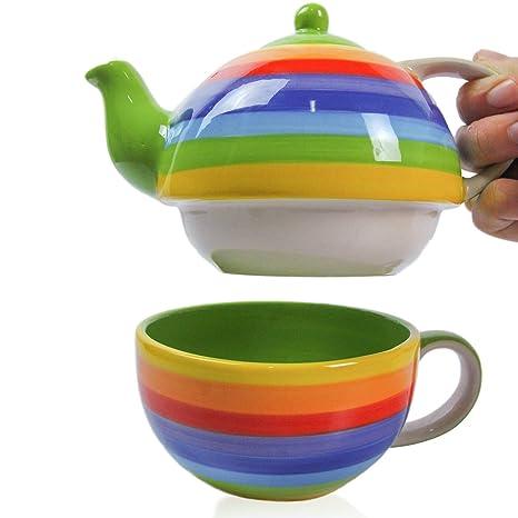 Amazon.com: CinMin - Tetera pintada a mano de cerámica con ...
