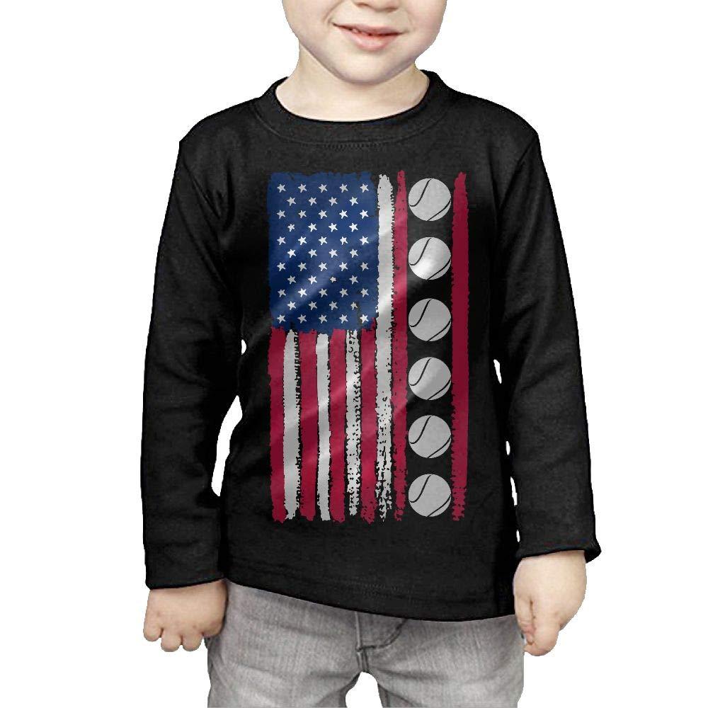 CERTONGCXTS Childrens USA Flag Tennis Ball-1 ComfortSoft Long Sleeve Tee