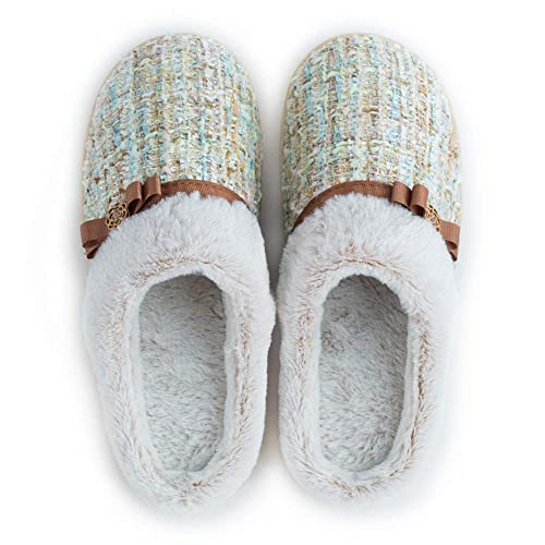 fb18eaee03c3 Winter Outdoor Indoor House Slippers Men Women Cozy Knitted Memory Foam  Plush Lining Slip on Home