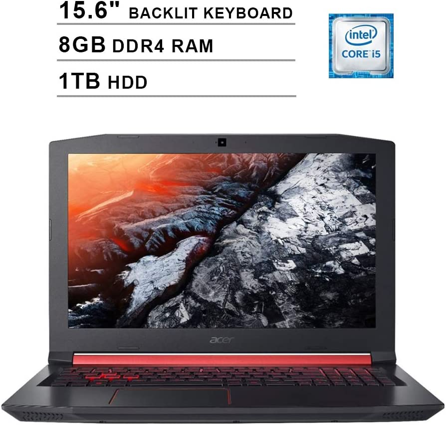 2020 Acer Nitro 5 AN515 15.6 Inch FHD Gaming Laptop (Intel Quad Core i5-8300H up to 4.0GHz, 8GB DDR4 RAM, 1TB HDD, NVIDIA GeForce GTX 1050 Ti, Backlit Keyboard, Windows 10) (Shale Black)