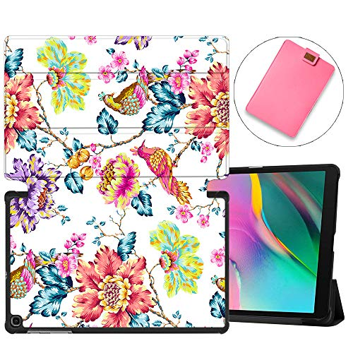 MAITTAO Galaxy Tab A 10.1 2019 Case Model T510 T515, Slim Folio Shell Case Stand Cover for Samsung Tab A 10.1 Inch 2019 Release SM-T510 SM-T515 & Tablet Sleeve Bag 2 in 1 Bundle, Flowers & Leafs 10