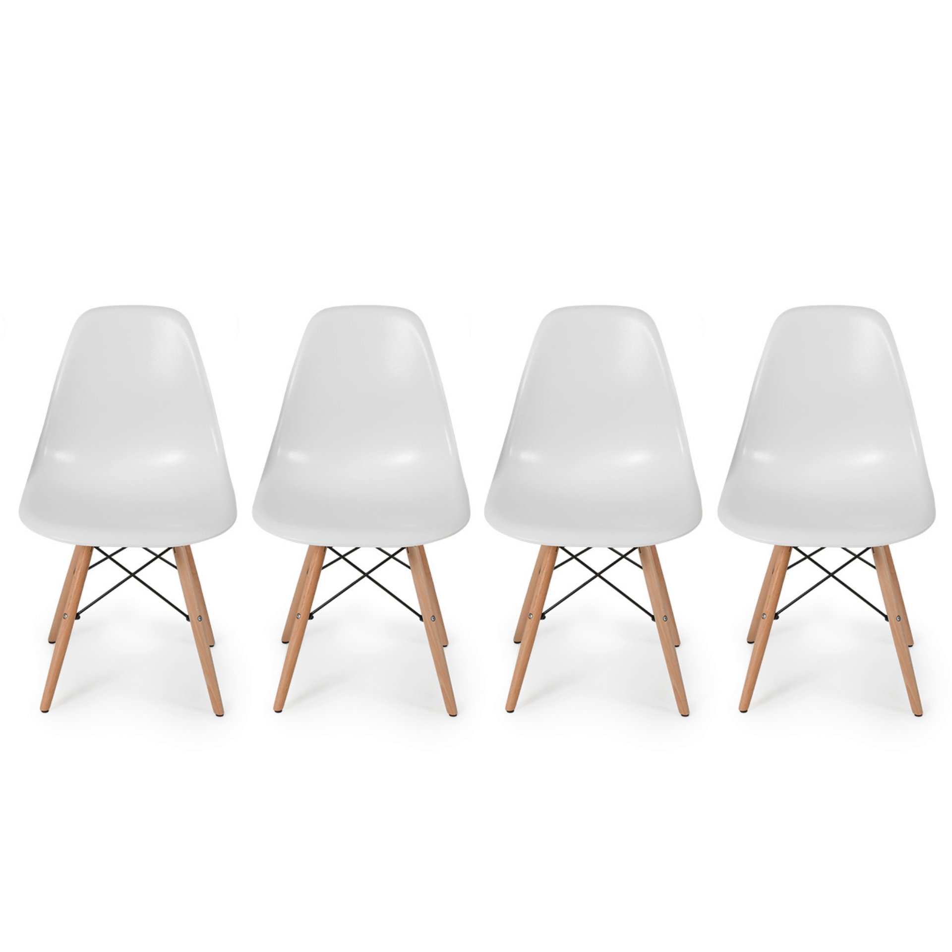 Set of 4 Retro Style Wood Base Mid Century Modern Shell Dining wooden Chair Dowel legs White #565