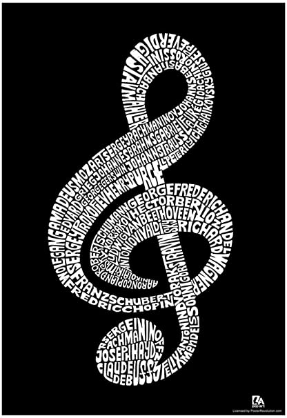 Amazon Music Note Composer Names Text Poster 13 X 19in Wall