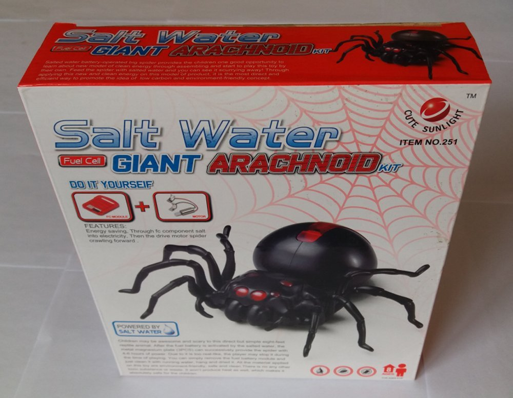 Salt Water Fuel Cell Giant Arachnoid Kit, The Boy Toys Science, Top robot Kits-Water Giant-/Water Play Kit, Robot Spider- Solar Robotics