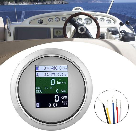 UE Bianco Yacht tachimetro GPS Contagiri Voltmetro Temperatura Acqua Livello Carburante Indicatore Pressione Olio per Auto Barca Indicatore Multifunzione 6 in 1