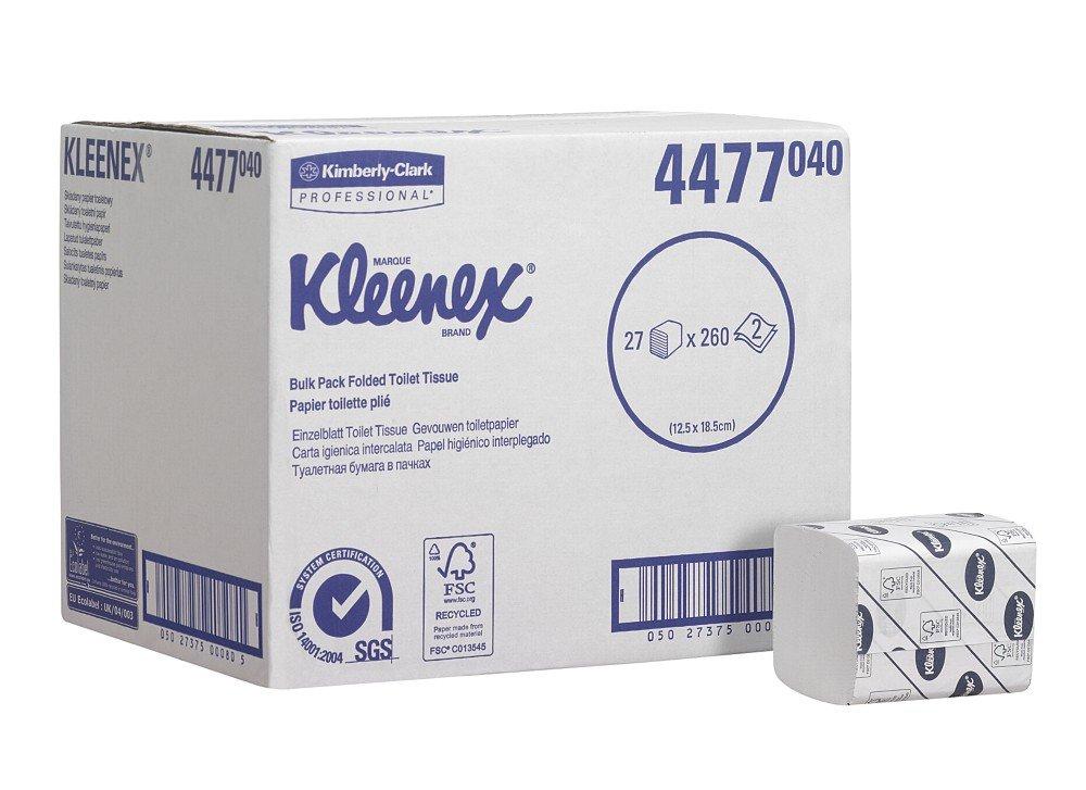 3eab73a7a76 KLEENEX  27 Folded Toilet Tissue 4477-27 packs x 260 white