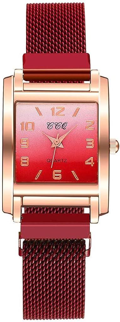 Yivise Reloj de Pulsera Elegante para Mujer Reloj de Cuarzo analógico con Esfera Cuadrada de Degradado Cuadrado Simple
