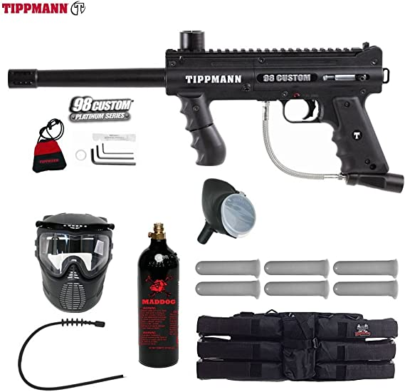 MAddog Tippmann 98 Custom Platinum Series Titanium Paintball Gun Package