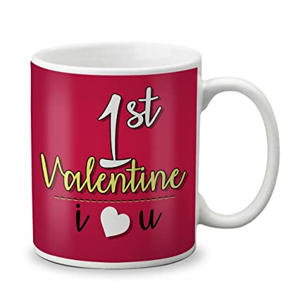 Buy Vespl Lof First Valentine S Day Printed Ceramic Mug 325 Ml