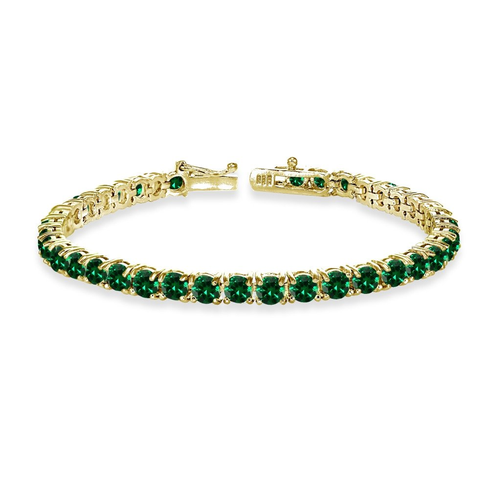 Yellow Gold Flashed Sterling Silver 4mm Simulated Emerald Round-cut Tennis Bracelet