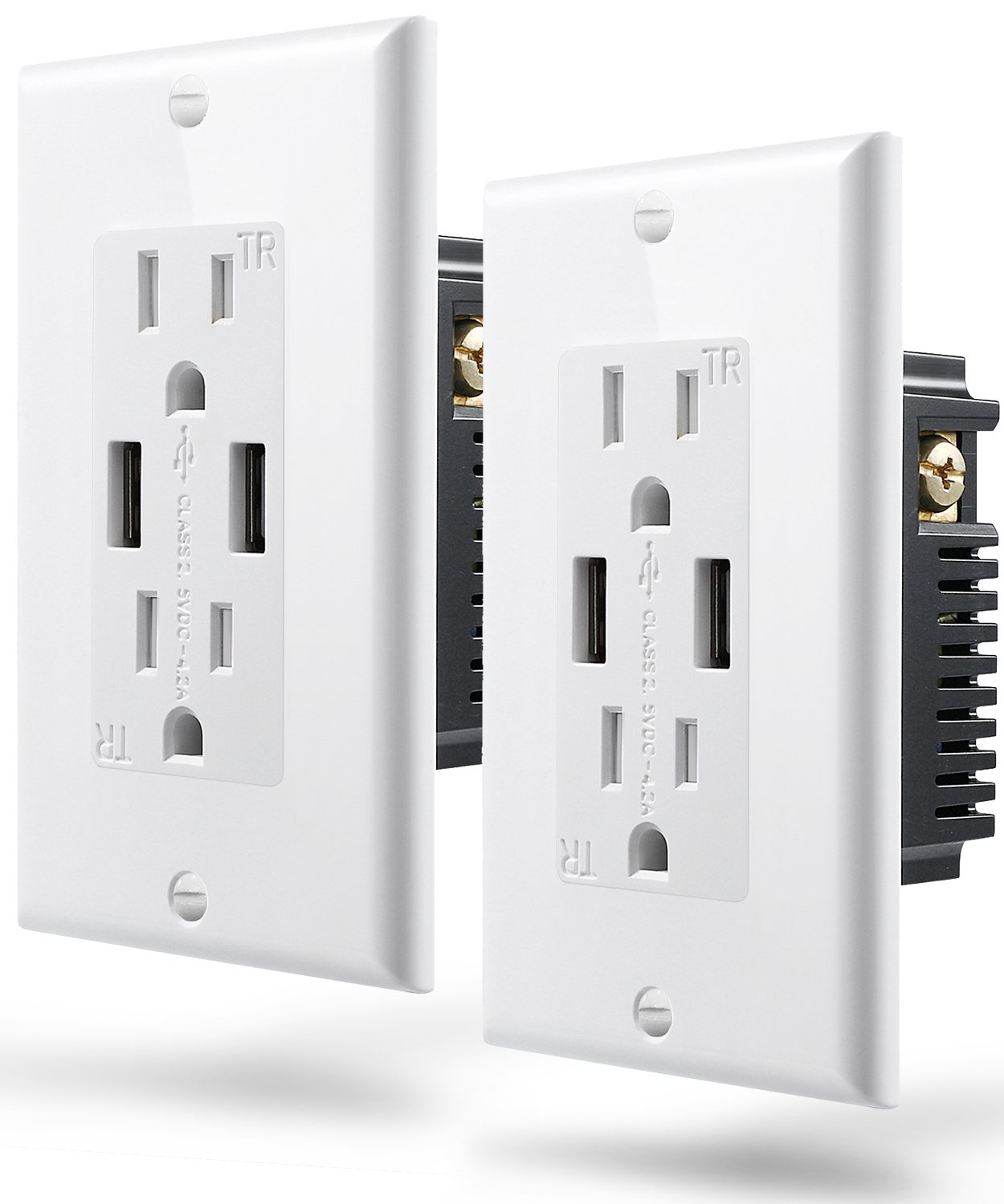 Fosmon Wall Outlet with USB Ports (2 PACK), High Speed 4.2A Dual USB Outlet Charger, 15A 125V Tamper Resistant Outlet Duplex Receptacle Wall Plate, 60Hz 1875 Watts [ETL Listed]