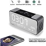 DiKaou Despertador con Bluetooth 4.2 Portable Wireless Altavoz,Reloj Despertador Doble con Blutooth Altavoz, Soporte Mic micro TF, Tarjeta SD, Entrada/AUX EN LÍNEA, Altavoz Super Bass para iPad iPhon