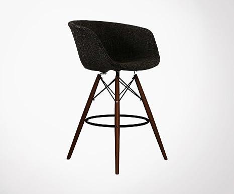 Meubles & design sgabello di bar piede legno seduta imbottita mond