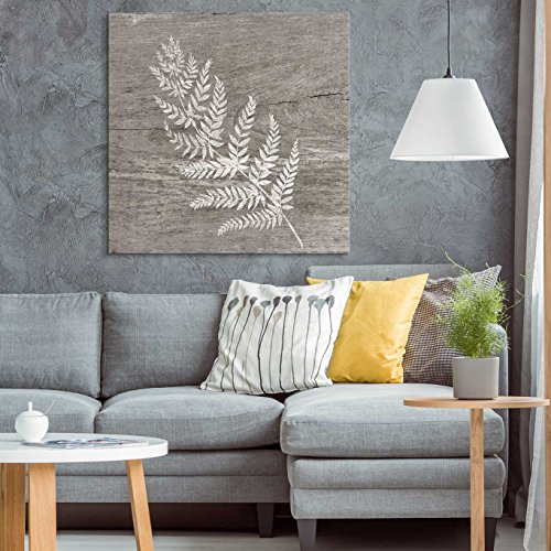 wall26 - Square Canvas Wall Art - White Fern Wood Effect Canvas - Giclee Print Gallery Wrap Modern Home Decor Ready to Hang - 24x24 inches