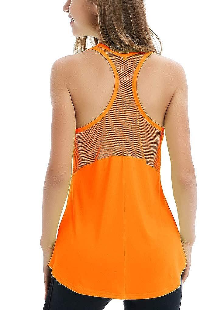 Fihapyli Womens Sleeveless Yoga Shirts Workout Tank Tops Actives Breathable Mesh Backless Tank Yoga Tops