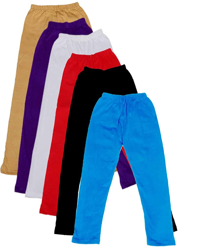 Indistar Big Girls Cotton Full Ankle Length Solid Leggings -Multiple Colors-17-18 Years Pack of 6
