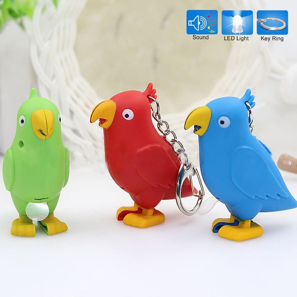 Academyus LED Light Sound Cartoon Bird Car Keychain Key Ring Holder Bag Ornament Pendant Kids Gift