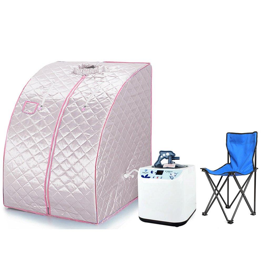 Sauna Box Bain de Vapeur mobile Spa Pliable Ménage à Vapeur Télécommande Température Argenté Vendeur Pro