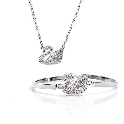 Fashion 925 Sterling silver women party pretty cute bracelet necklace set Jf8kGRP