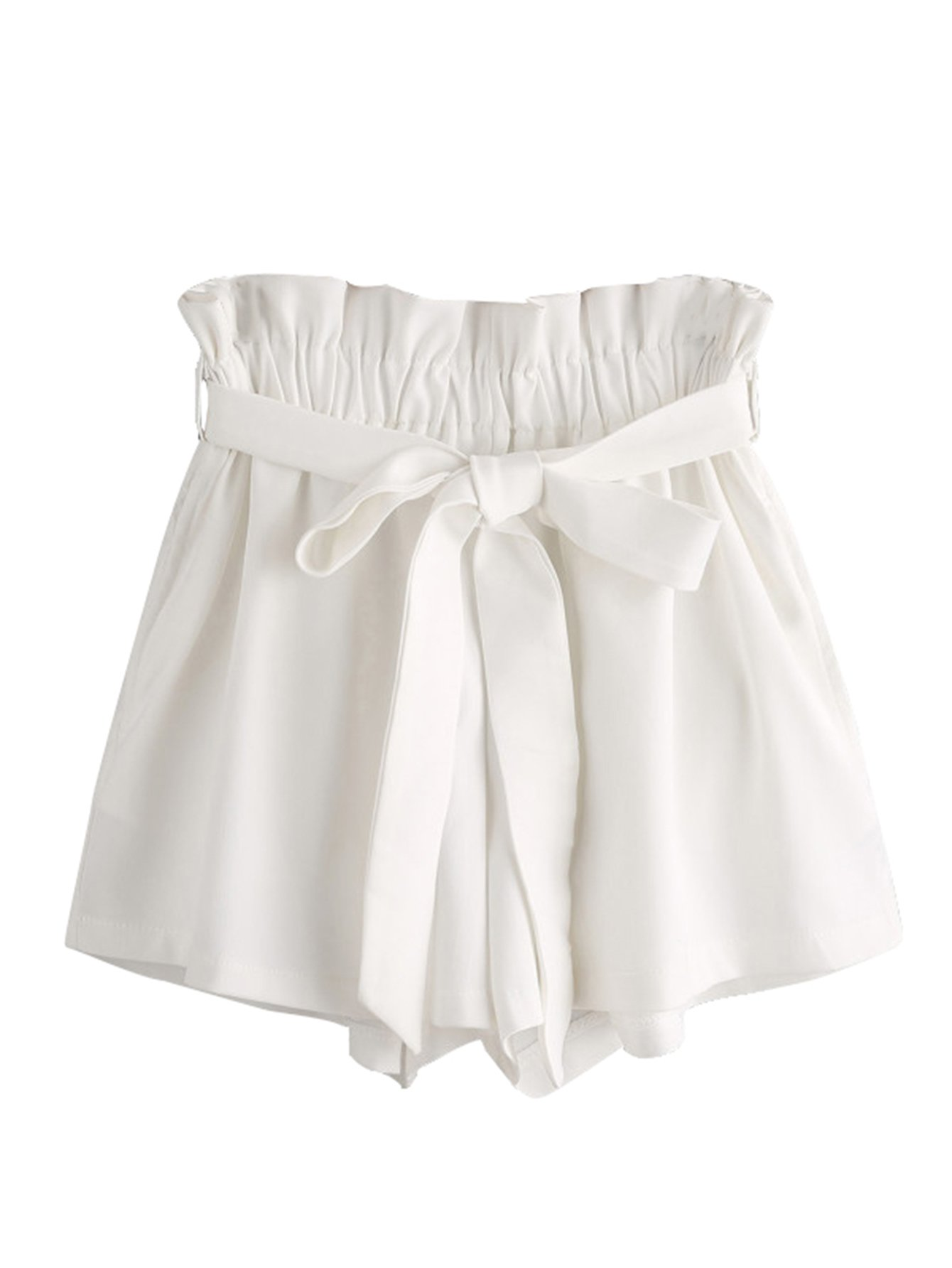 MakeMeChic Women's High Waist Casual Frill Loose Self-Tie Shorts White One Size