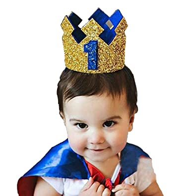 Ziory 1 Pcs Golden Blue Color Kids Baby 1st Birthday Prince Hat Glitter  Crown Flower Head Hair Band Party Headwear for Baby Boys and Baby Girls   Amazon.in  ... 2f30bb9f186