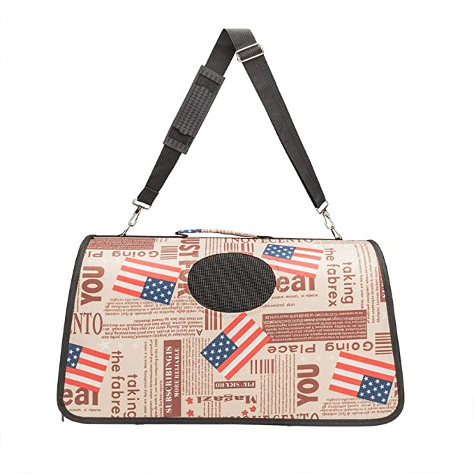 Amazon.com : Herva Fashion pet Carrier, Flag Pattern Pet Carrier Tote Around Town Pet Carrier, Portable Travel Bag Mesh Windows Zipper Locks : Pet Supplies