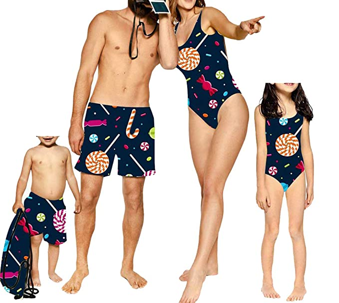 a25e613f26 Amazon.com: Mommy and Me Candy One Piece Swimsuits, Father and Son Matching Swim  Trunks Family Bathing Suits: Clothing