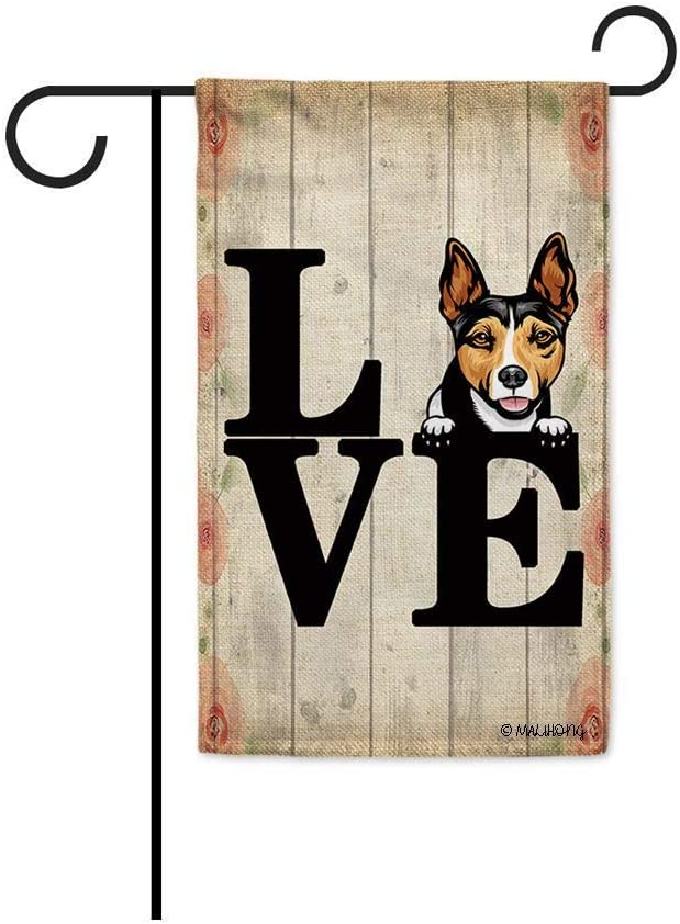 MALIHONG Love Dog Print Wooden Background Garden Flag Cute Peeking Dog Rat Terrier Dog Lover Banner for Home Decor 12.5X18 Inch Printed Double Sided