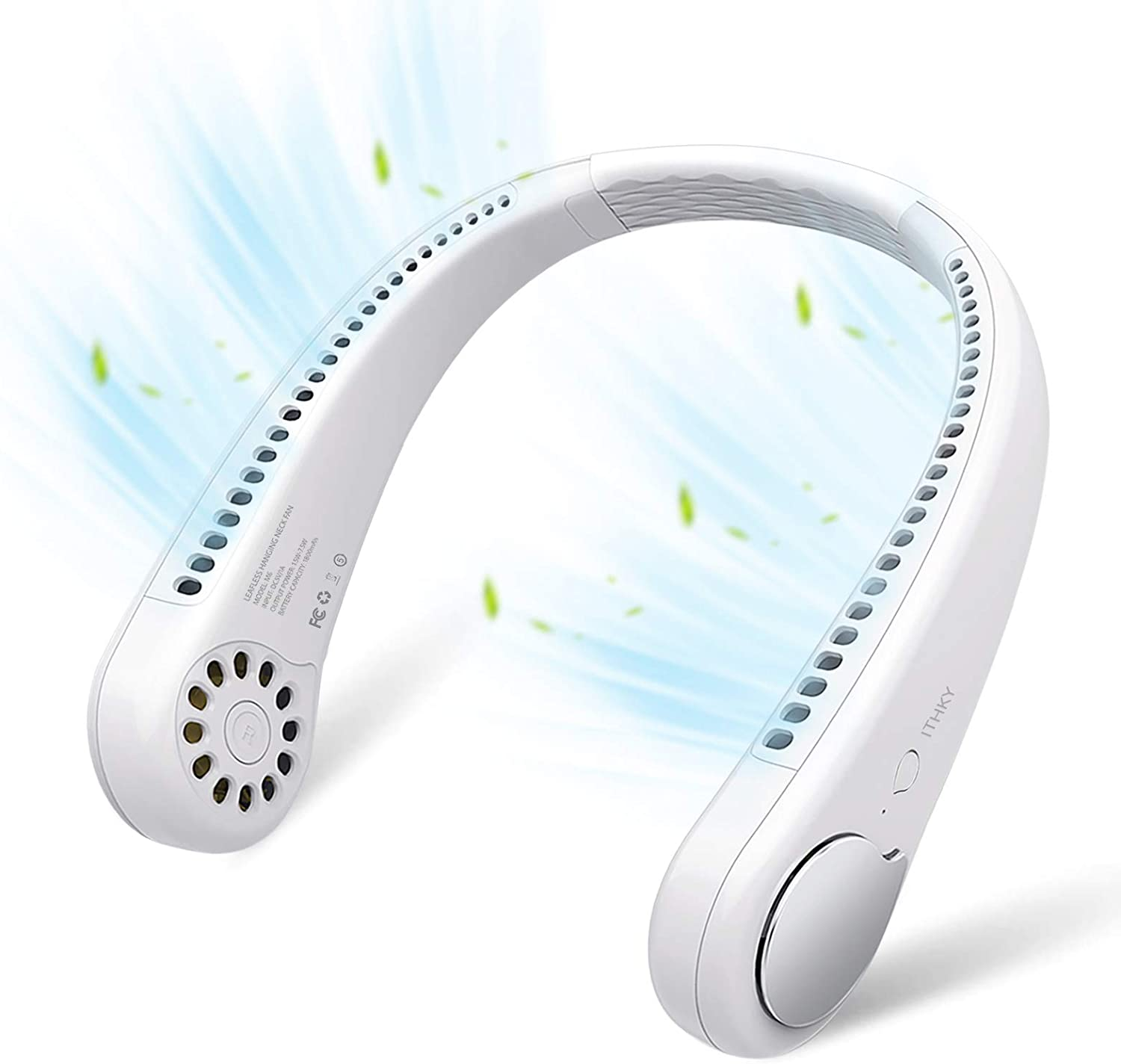 Portable Neck Fan - ITHKY Hands Free Bladeless Neck Fan, 360° Cooling Hanging Fan, USB Rechargeable Personal Neck Fan, Headphone Design Neck Air Conditioner with 3 Wind Speed for Outdoor Indoor