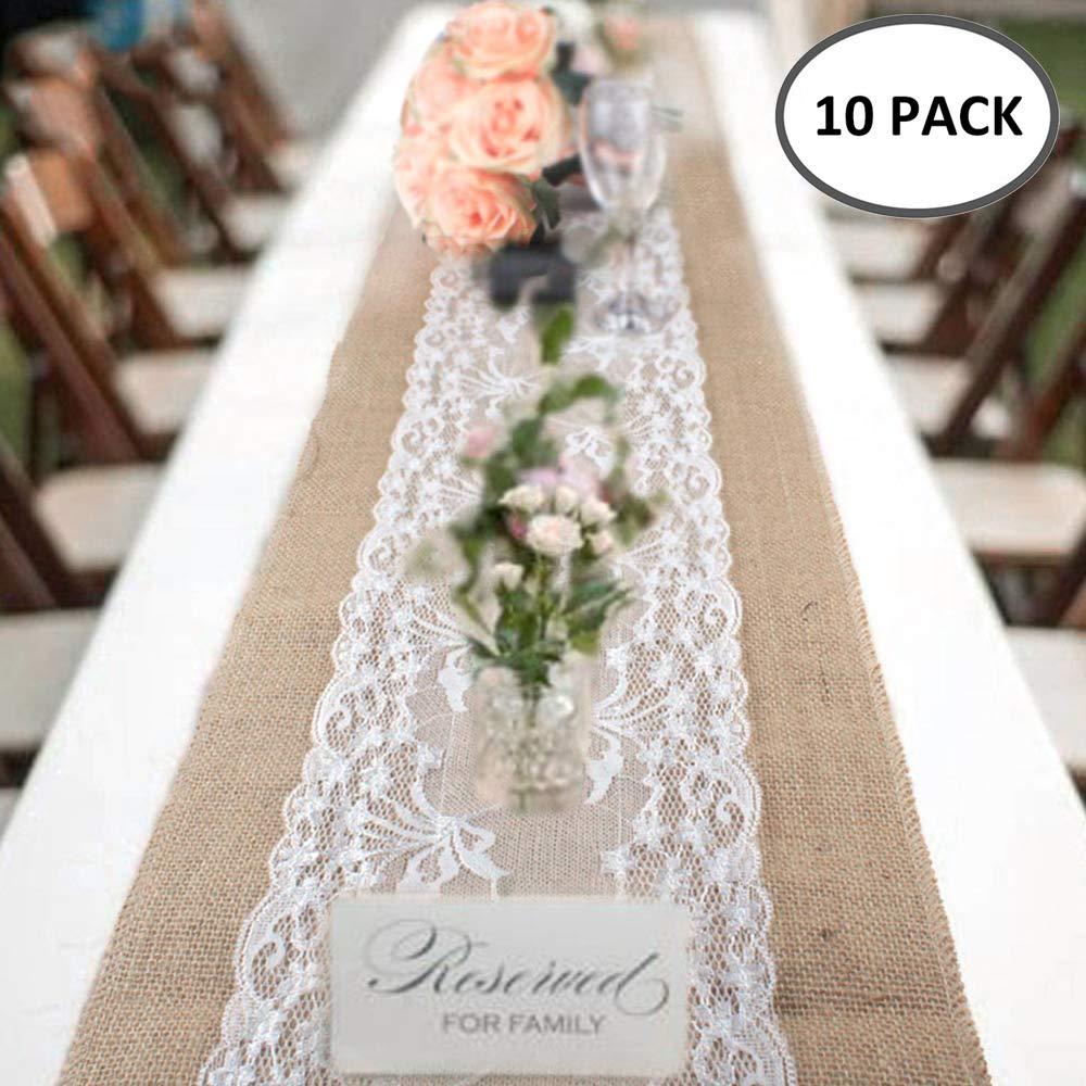10packs littlegrasseu 10Pcs Lace Burlap Table Runners Vintage Rustic Hessian Jute Table Cloth Wedding Bridal Festival Party Event Decoration 30x275cm