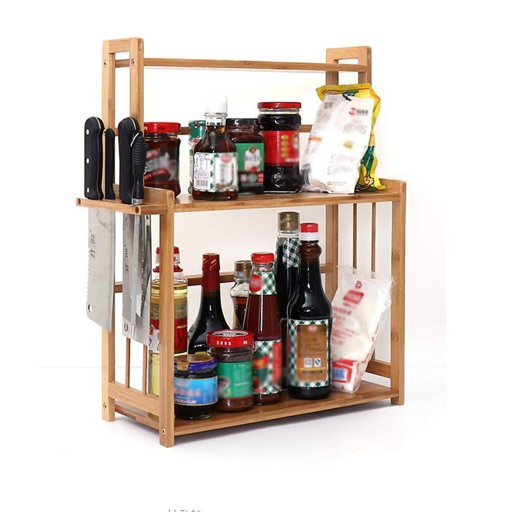 Kitchen Storage Shelf Racks Storage Basket Shelf Baskets Bamboo Household Spice Rack Kitchen Multifunction Tool Holder Multiple Choices ZHAOYONGLI (Size : 411854cm)