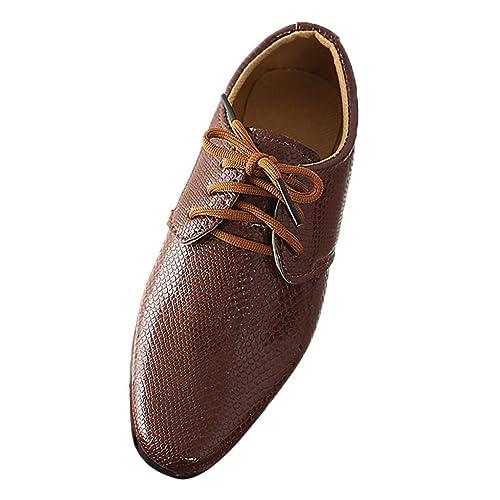 pretty nice b9c7b 4b623 Pingtr - Lederschuhe Junge - Junge Schuhe Schnürhalbschuhe Elegant Oxford  Anzug Leder Derby Männer Lackleder Lederschuhe