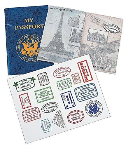 Fun Express PASSPORT STICKER BOOK (1 DOZEN) - BULK ()