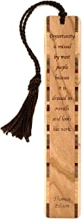 product image for Opportunity - Quote by Thomas Edison, Engraved Wooden Bookmark with Tassel - Search B0728JLWYG for Personalized Version