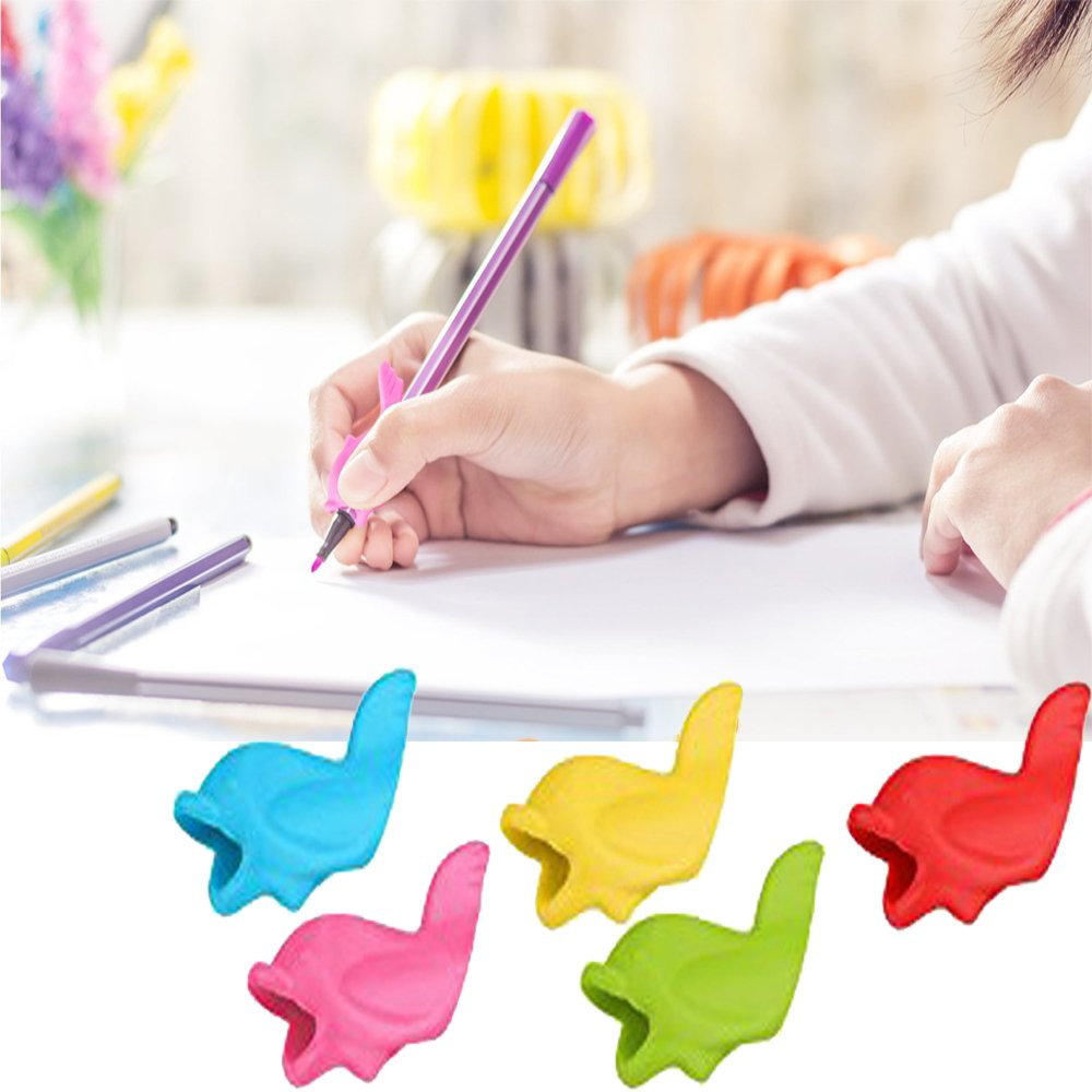 Pencil Writing Grips for Kids Handwriting 20 Pack Pencil Holder Utensils Pen Writing Aid Grip Posture Correction Tool with Comfortable Ergonomic Writing by Bomach (Image #3)