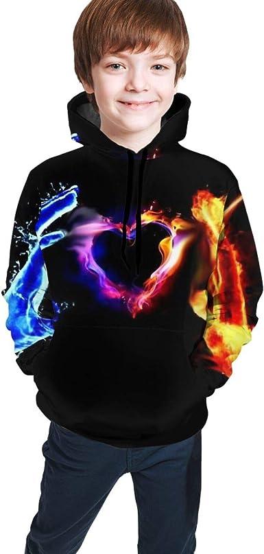 Amazon.com: Kids Hoodies, Hand Ice Fire Heart 3D Hoodies for Kids Boys Girls  Active: Clothing