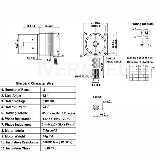 amazon com: iverntech nema 11 stepper motor 28mm body 1 8 stepper angle  0 8a 2 phase 4-lead with 50cm cable for 3d printer, cnc machine and  robotics: