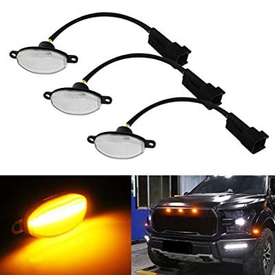 Miniclue 3pcs Clear Lens Amber LED Compatible with 2010-2014 and 2020-up Ford Raptor Grille Running Lights, Powered by 45 Pieces of SMD LED Lights: Automotive