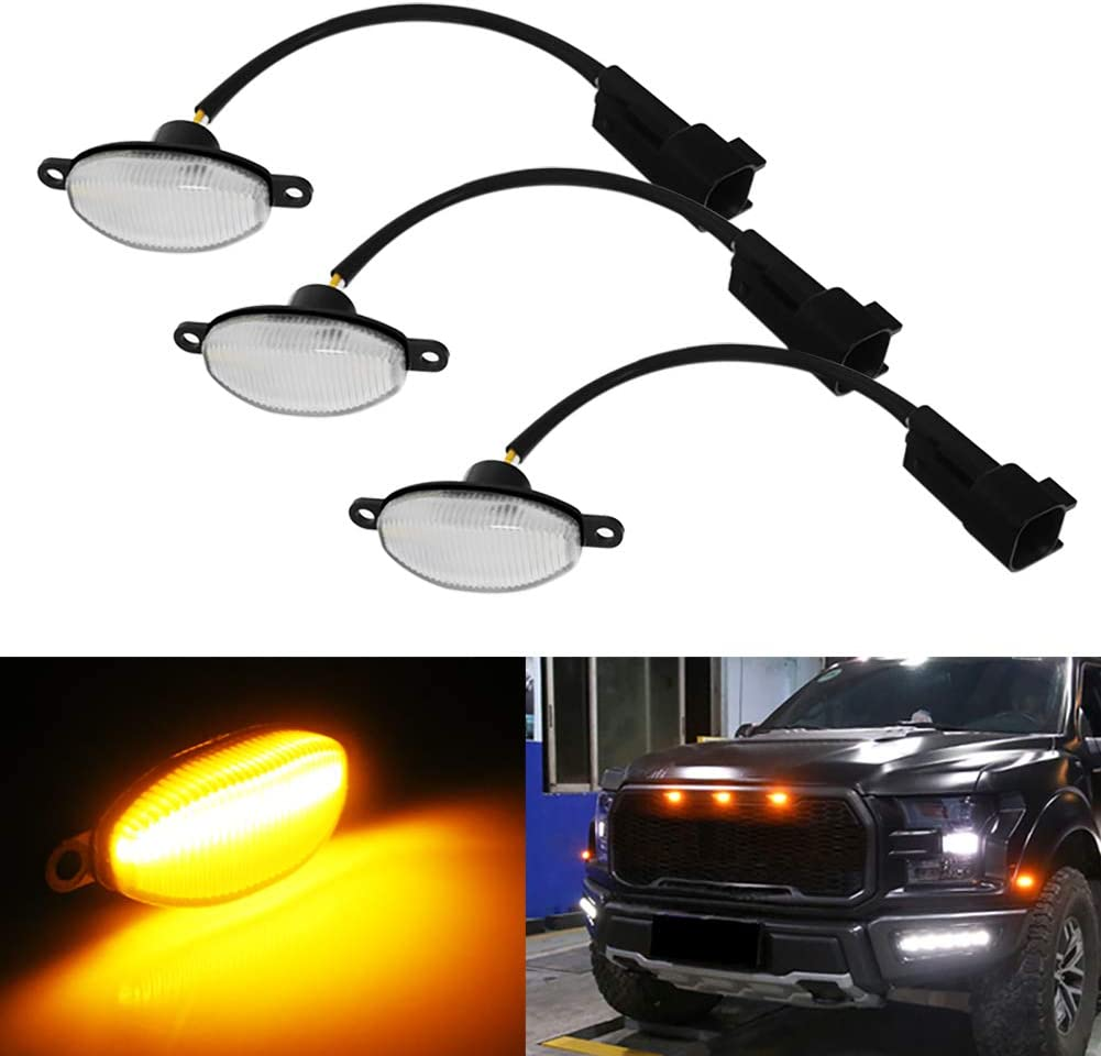Powered by 45 Pieces of SMD LED Lights Miniclue 3pcs Smoked Lens White LED for 2010-2014 and 2017-up Ford Raptor Grille Running Lights