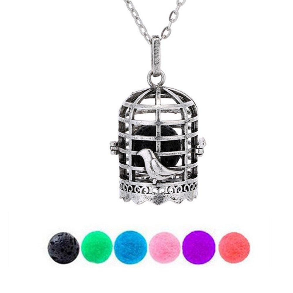 GraceAngie Bird Cage Aromatherapy Essential Oil Diffuser Locket Necklace Pendant with 1 Lava Stone & 5 Pompon Balls CJ420-C