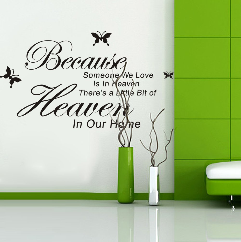 Amazon Because Someone We Love Is in Heaven There s a Little Bit of Heacen in Our Home vinyl Wall Lettering Stickers Quotes and Sayings Home Art Decor