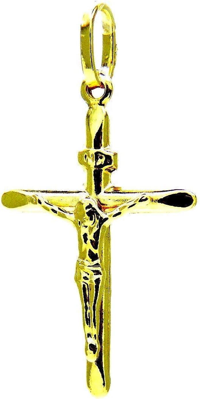 /crocetta biseaut/ée Homme Femme Enfants Pegaso Gioielli/ /Pendentif or jaune 18/carats Pendentif Croix Christ/