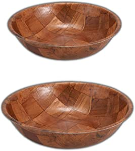 Wooden Salad Bowl Set of 6 Includes - 10 and 12 Inch Wooden Bowls 3 of Each Size. Great for Fruit, Food, Salads and Serving Bowls.