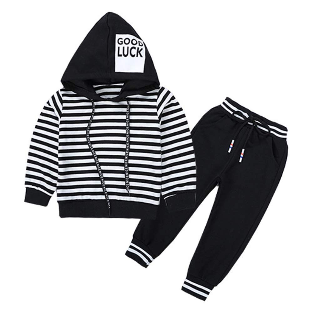 Hotiary Autumn Long Sleeve Tracksuit Outfit Stripe Hoodie Sweatshirt Tops+Pants 2-Piece Set for Children Boy Black by Hotiary