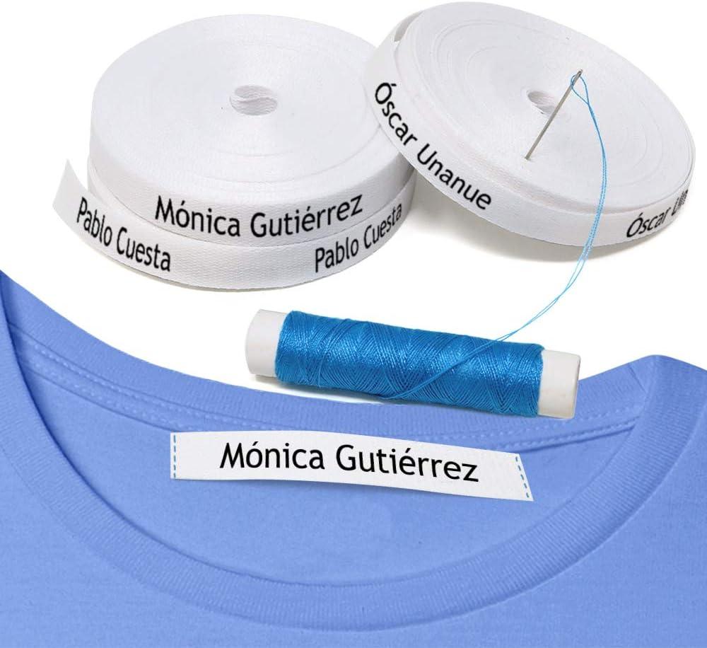 100 etiquetas para coser a la ropa. Etiquetas personalizadas de tela 100% ALGODÓN. Cintas de nombre para guarderías, escuelas, colegios y residencias.
