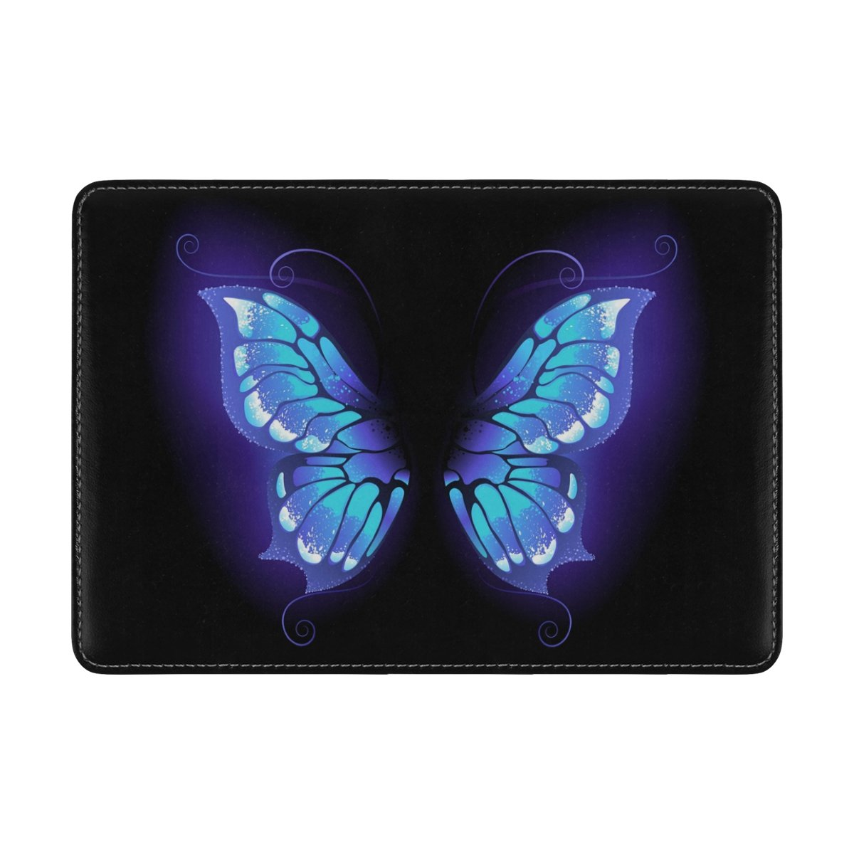 ALAZA Purple Butterfly Black Leather Passport Holder Cover Case Travel One Pocket by ALAZA (Image #2)